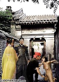 The lash struck Ming Zhu's flesh across the lush peaches of her tits pic 3
