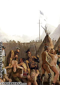 Petunia could only scream and scream as her tight, virgin asshole was plundered by the war chief pic 1